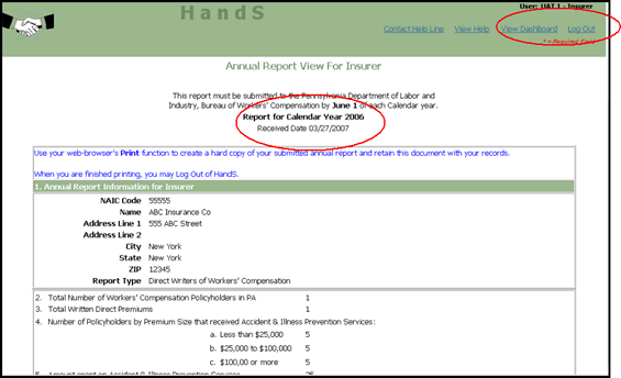 Screenshot of How to Complete an Online Insurer Annual Report, Section 5 - Contact and Signatory Information, Report View with Print Function
